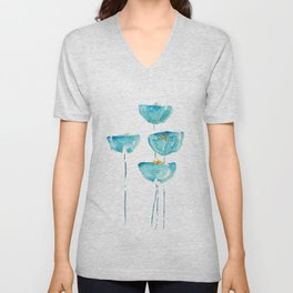blue poppy watercolor Unisex V-Neck