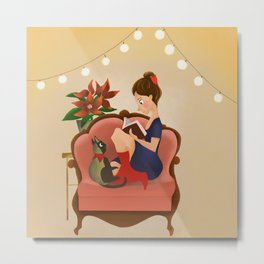 Girl with the book Metal Print