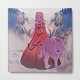 Wolf Princess Moondragon Metal Print
