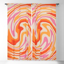 70s Retro Swirl Color Abstract Blackout Curtain