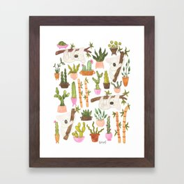 watercolor koala bears hanging out in their cactus succi garden Framed Art Print