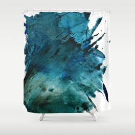 Scenic Route [2]: a pretty, minimal abstract piece in blue and green by Alyssa Hamilton Art Shower Curtain