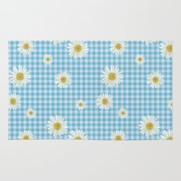 Daisies On Blue Gingham Rug