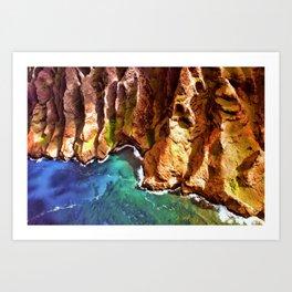 Tropical Coastline Hawaii of the Isolated Napali Coast Art Print