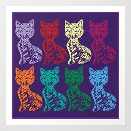 Folk Cats on paper film Art Print
