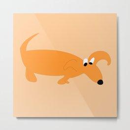 ORANGE SNIFFER DOG Metal Print