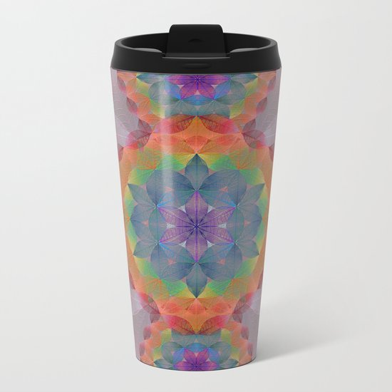 The Flower of Life - Leaf Pattern Metal Travel Mug