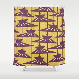Mid Century Modern Pendant Lamp Composition Yellow and Plum Shower Curtain