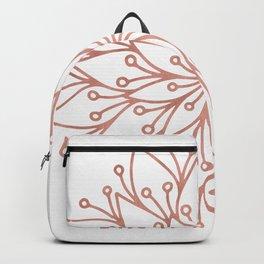 Mandala Blooming Rose Gold on White Backpack