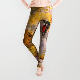 Walk in autumn after rain Leggings