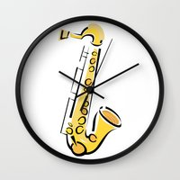 saxophone Wall Clocks featuring Saxophone Sax by shopaholic chick