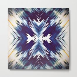 Dark Blue Aztec Inspired Design Metal Print