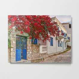 Traditional houses in the town of Spetses island, Greece Metal Print