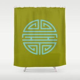 Shou Longevity In Green And Turquoise Shower Curtain