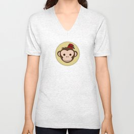 Monkey with Fez Unisex V-Neck