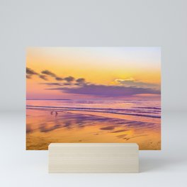 Sunrise colors reflecting in wet sand Mini Art Print