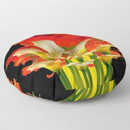 RED FLORALS & YELLOW CALLA LILIES BLACK ART Floor Pillow