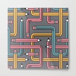 Pencil Maze Pattern pastel grey multi Metal Print
