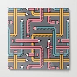Pencil Maze Pattern pastel grey multi Metal Print