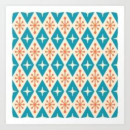 Mid Century Modern Atomic Triangle Pattern 107 Art Print
