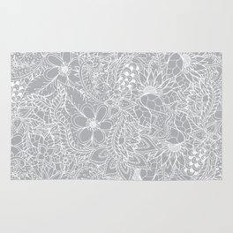 Modern trendy white floral lace hand drawn pattern on harbor mist grey Rug