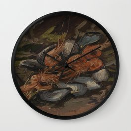 Prawns and Mussels Wall Clock
