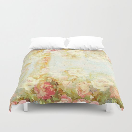 vintage roses and pastel tones Duvet Cover