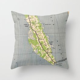 Vintage Map of Powells Point North Carolina (1940) Throw Pillow