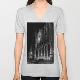 A View of the Northern Edge of Notre Dame Cathedral, Paris, France Unisex V-Neck