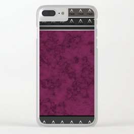 Marble . Combined abstract pattern. Burgundy marble . Clear iPhone Case