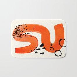 Mid Century Modern abstract Minimalist Fun Colorful Shapes Patterns Orange Brush Stroke Watercolor Bath Mat