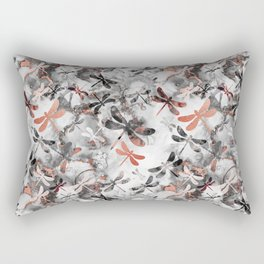 Dragonfly Lullaby in Marble and Rose Gold Rectangular Pillow