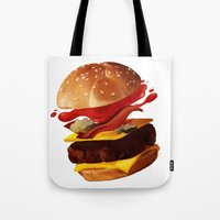 hamburger Tote Bags featuring Hamburger by Hikkaphobia