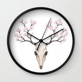 Blooming deer skull Wall Clock