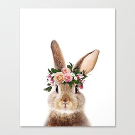 Baby Rabbit, Bunny With Flower Crown, Baby Animals Art Print By Synplus Canvas Print