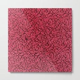 Vintage Floral Claret Ruby Red Metal Print
