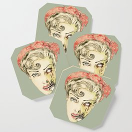 zombie pin-up retro housewife horror rockabilly scarf wearing strong woman Coaster