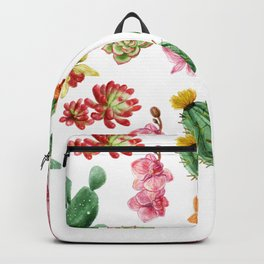 Watercolor Cactus on white background Backpack