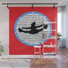 cheer blue on red Wall Mural