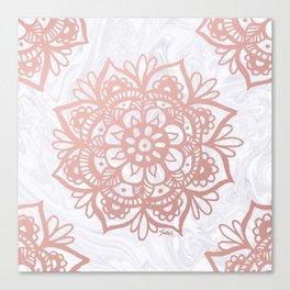 Rose Gold Mandalas on Marble Canvas Print