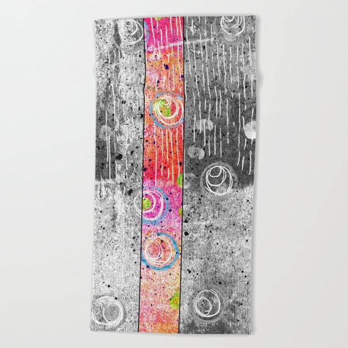 pink stripe Beach Towel