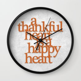 Thankful Heart: Typography Wall Clock