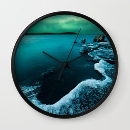 Ice on the lake shore and northern lights landscape Wall Clock