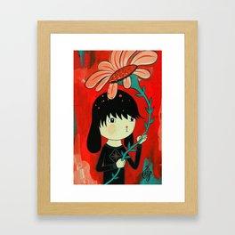 Dog Boy with flower. Framed Art Print
