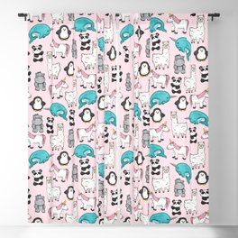 Panda, Narwhal, Llama, Penguin, Hippo, Girl's Animal Illustrations, Pink Print Blackout Curtain