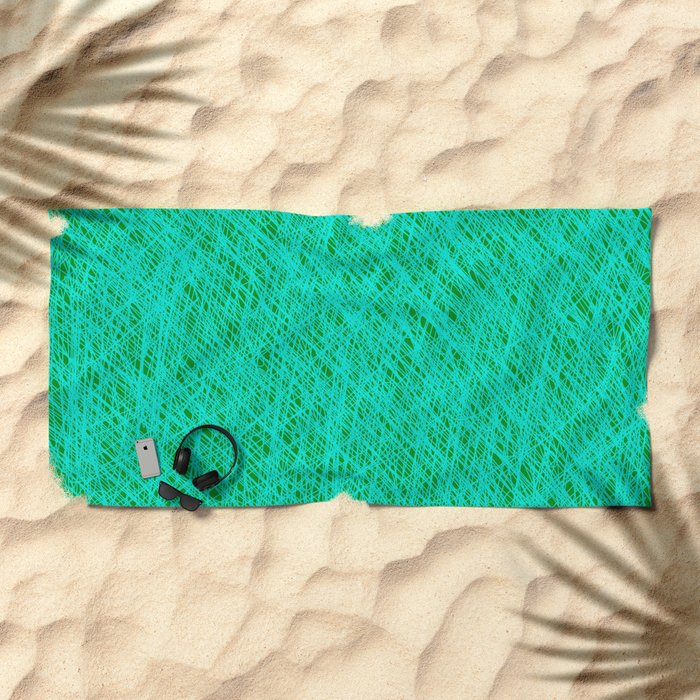Expressive Blue (Abstract green and cyan) Beach Towel