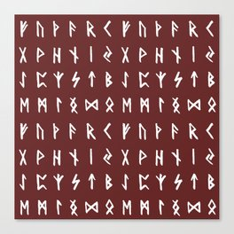 Nordic Runes // Monarch Red Canvas Print