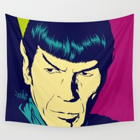 spock Wall Tapestries featuring Spock Logic by Vee Ladwa