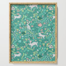 Spring Pattern of Bunnies with Turtles Serving Tray