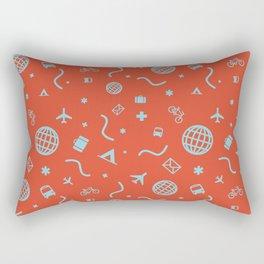 Cityicons Postmodern Travel Print - Airline Orange/Blue Rectangular Pillow